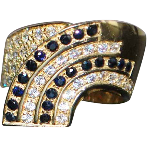 14K Italian Pave Diamond and Sapphire Ring - 1980's