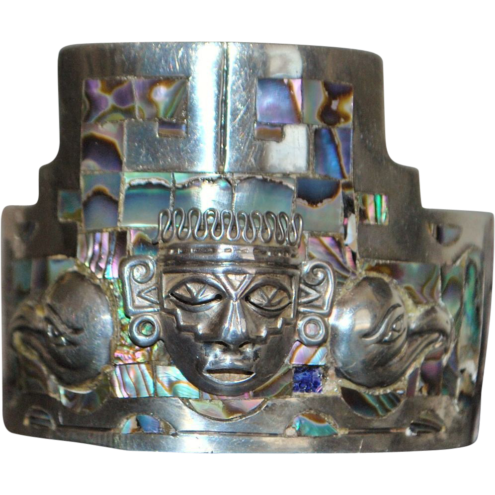 Large Mexican Taxco Inlaid Cuff Bracelet - 1960's