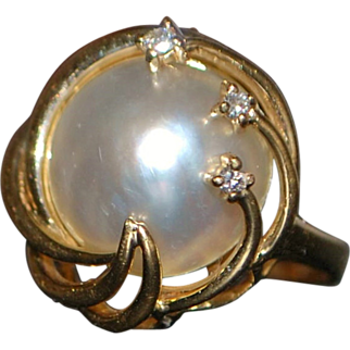 14K Mabe Pearl and Diamond Ring - 1980's