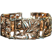 Retro Rose Gold over Sterling Bracelet - 1940's