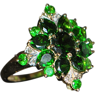 14K Green Garnet and Diamond Cluster Ring - 1980's