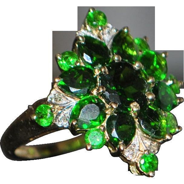 14K Green Garnet and Diamond Cluster Ring - 1980's