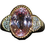 18K 6ct Kunzite and Pave Diamond Ring - 1980's