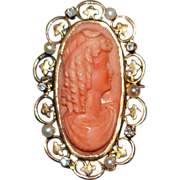 14k Victorian Coral Cameo, Pearl and Diamond Brooch