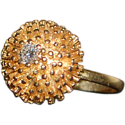 14k Retro Diamond Sea Urchin Gold Ring - 1960's