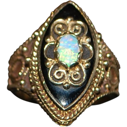 14K Etruscan  Opal and Onyx Dinner Ring - 1890's