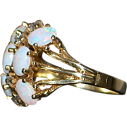 14k Retro Opal and Diamond Fashion Ring - 1960's