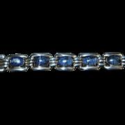 Taxco 950 Silver Blue Sodalite Link Bracelet - 1980's