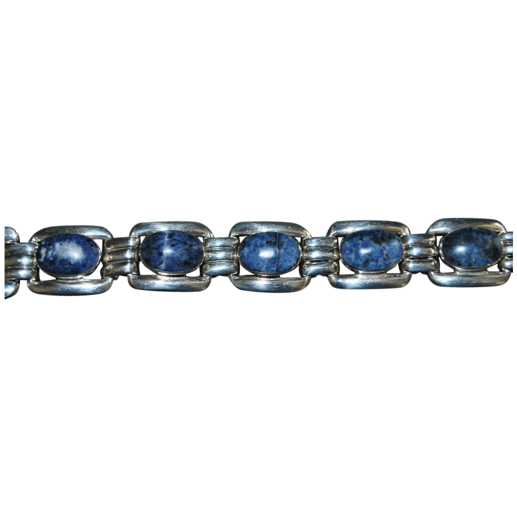 Mexican  950 Silver Blue Sodalite  Bracelet - 1980's
