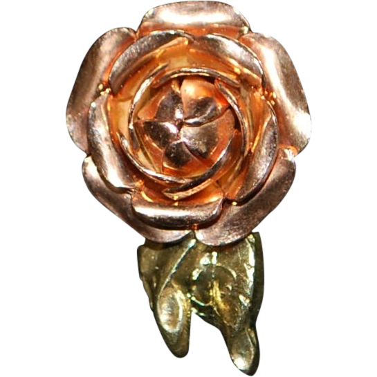 14K Retro Rose Gold Rose Earrings - 1960's