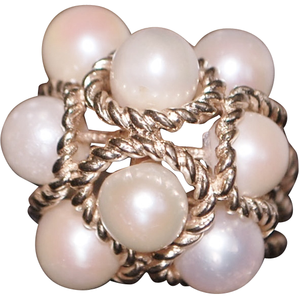 14K Large Cultured Pearl Gold Rope Ring - 1960's