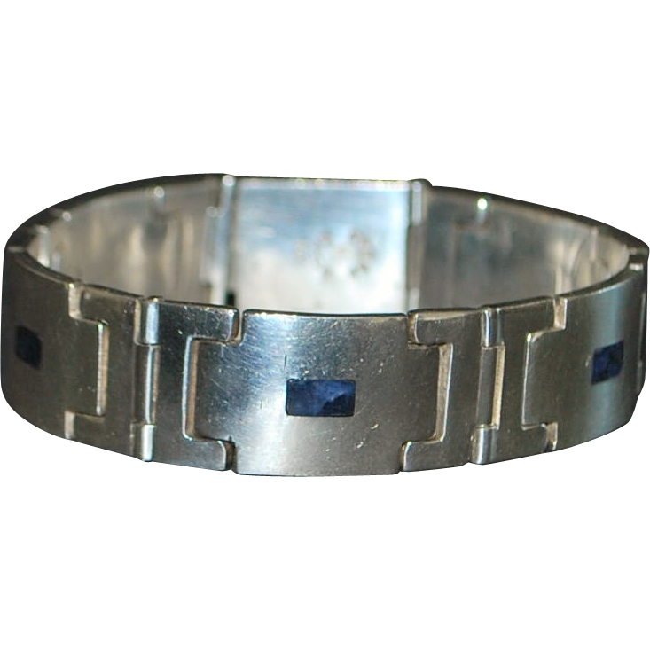 Weiss Mid-Century Sterling and Lapis Bracelet -1950s