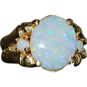 14K Australian Pin Fire White Opal Ring - 1960's