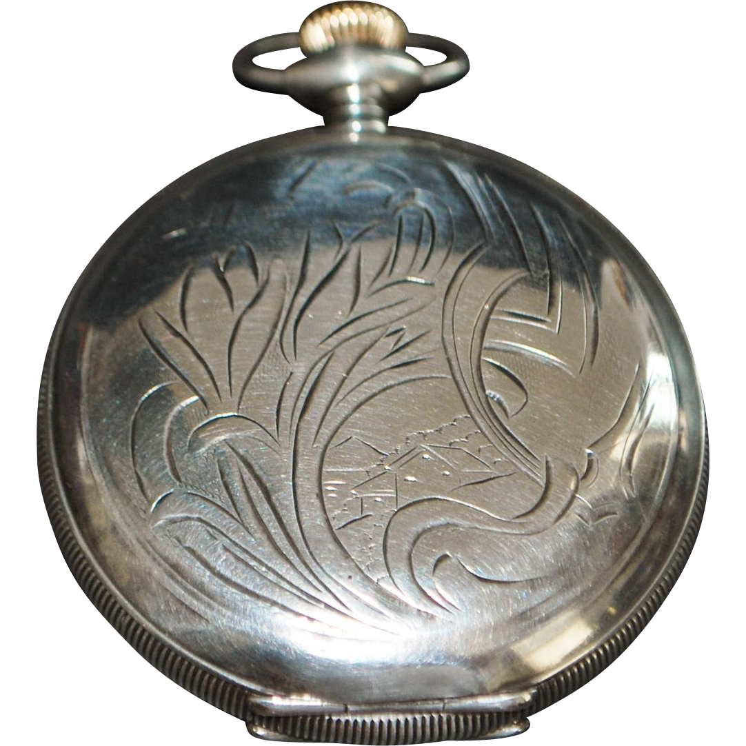 Large Sterling Hunting Case Pocket Watch, 1877