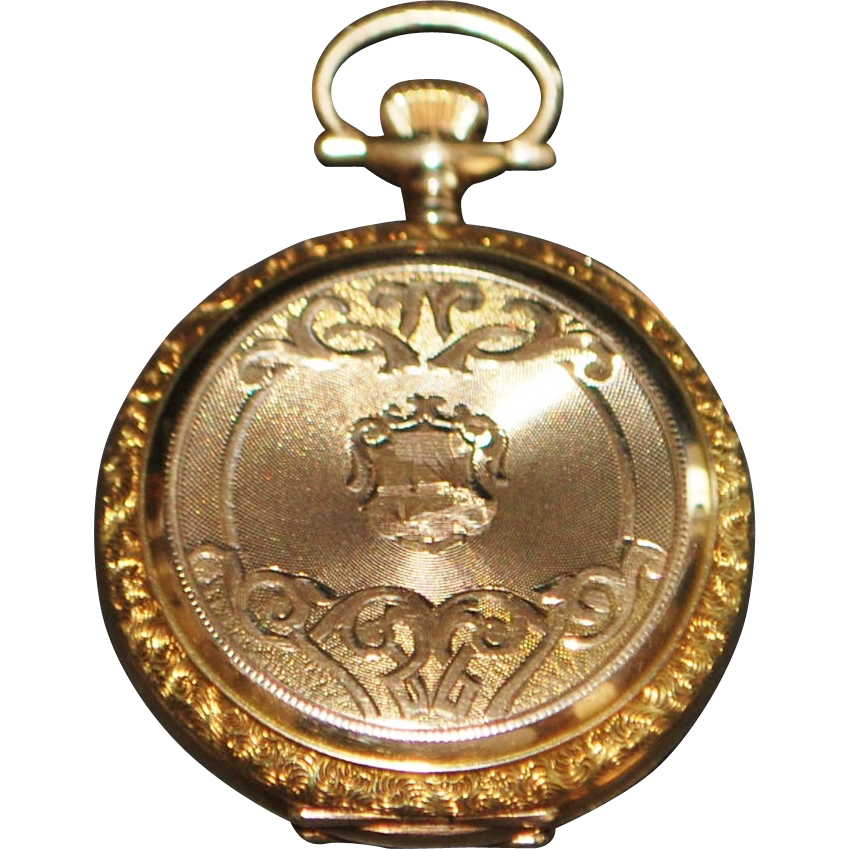 14K Gold Fancy Lady's Hunting Case Pendant Watch,1911