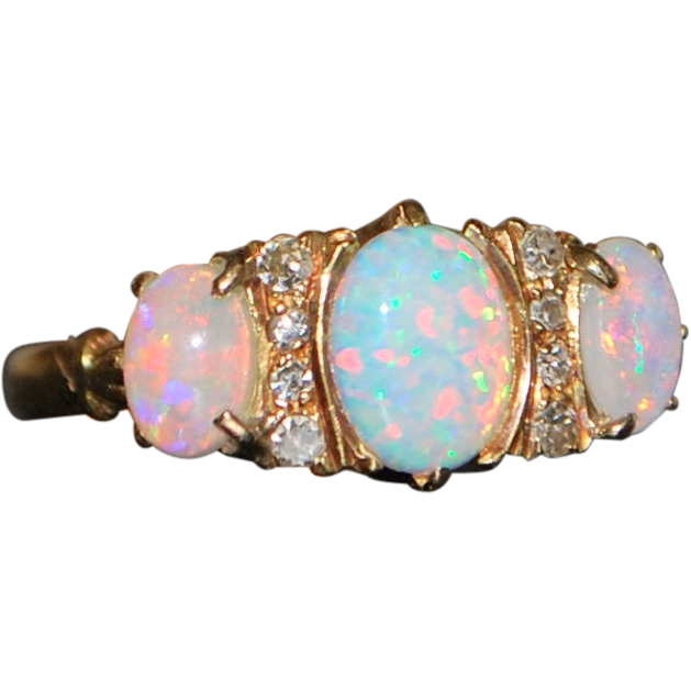 18K English Opal and Diamond Ring -1966