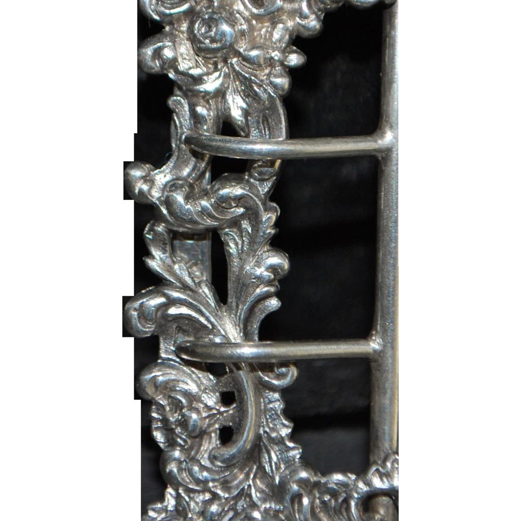 French Art Nouveau Silver Belt Buckle - 1900
