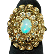14K Victorian Etruscan Large Opal and Diamond Ring