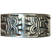 Mexican Taxco Hand Wrought Signed Sterling Bangle