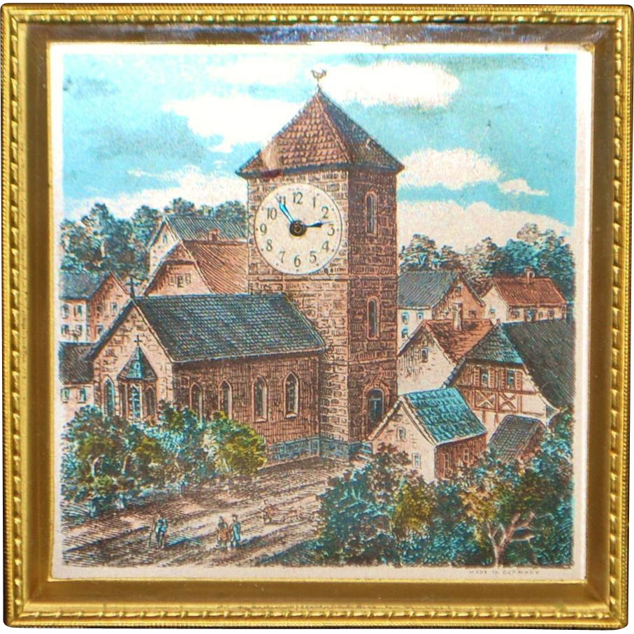 "German ""Village Scene"" Brass Table Clock - 1920's"