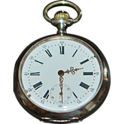 Swiss Galonne 800 Silver OF Pocket Watch -1890-1910