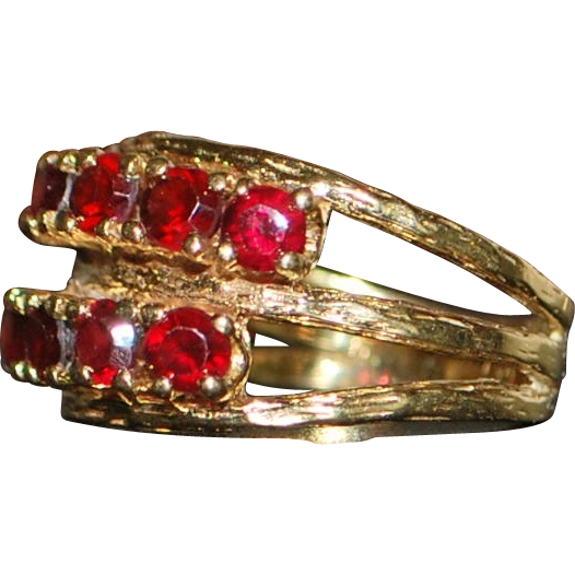 14K Retro Garnet Harem Style Ring - 1960's