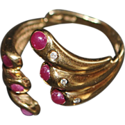 14K Modernist Ruby and Diamond Ring - 1960's