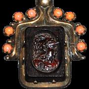 Victorian French Silver Coral Intaglio Cameo Brooch