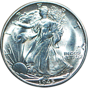 Fine US Silver Walking Liberty Half Dollar - 1945-S