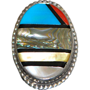 Large Man's Zuni Silver Inlaid Stone Ring - 1970's