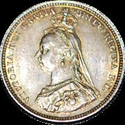 English Silver Shilling BU Coin - 1887