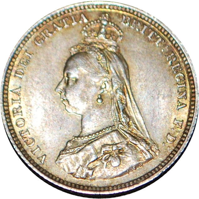 English Silver Shilling BU Coin - 1887