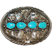 Navajo Sterling Silver and Turquoise Belt Buckle