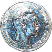German Large 5 Mark Silver Coin - 1904-A