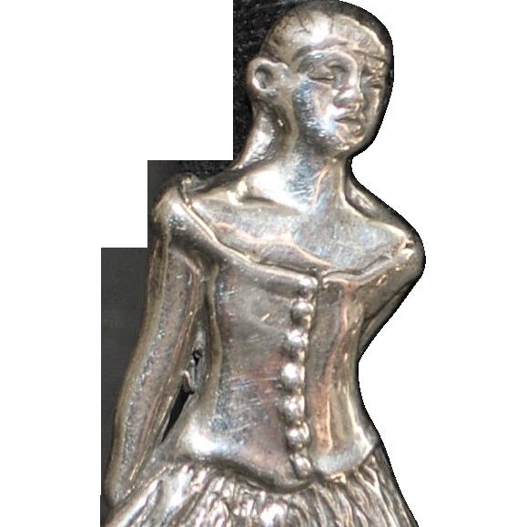 Degas Ballet Dancer Sterling Silver Brooch - 1980's