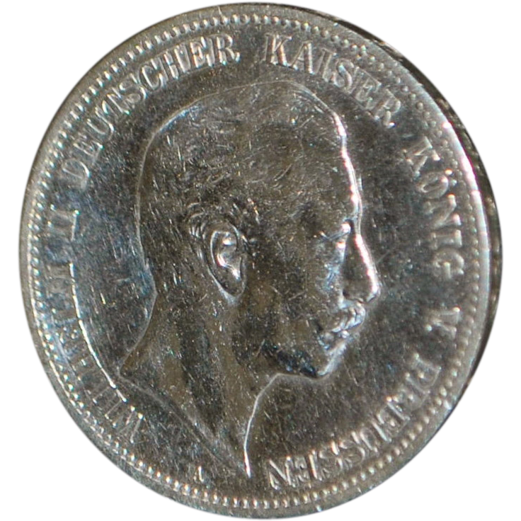 German Large Silver 5 Mark Coin - 1907 -A