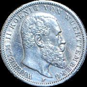 German Silver 3 Mark Coin - 1914 - F