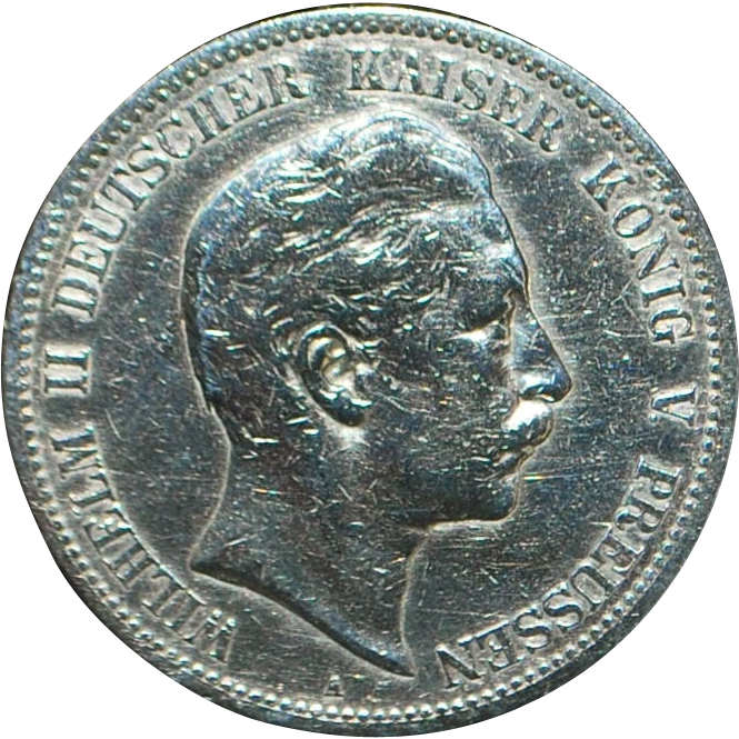 Large German Silver 5 Mark Coin - 1902 - A