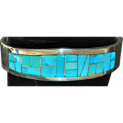 Sterling Silver Inlaid Turquoise Cuff Bracelet