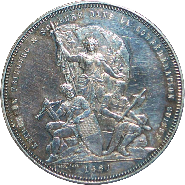 Large Swiss Silver 5 Franc Coin - Fribourg - 1881