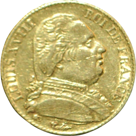 French Louis XVIII 20 Francs Gold Coin - 1815 -A