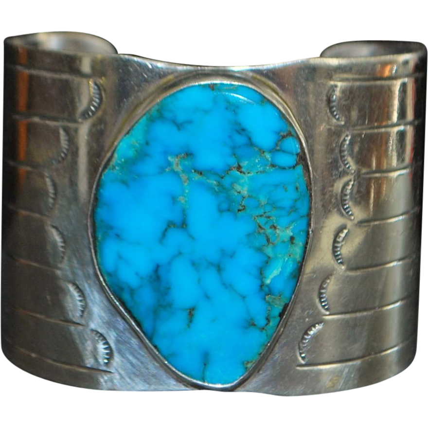 Large Navajo Morenci Turquoise Silver Bangle - 1970's