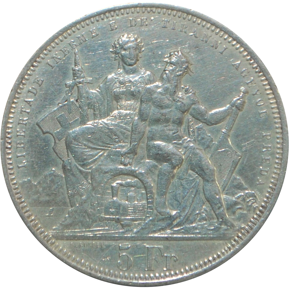 Large Swiss Silver 5 Franc Coin - Lugano - 1883