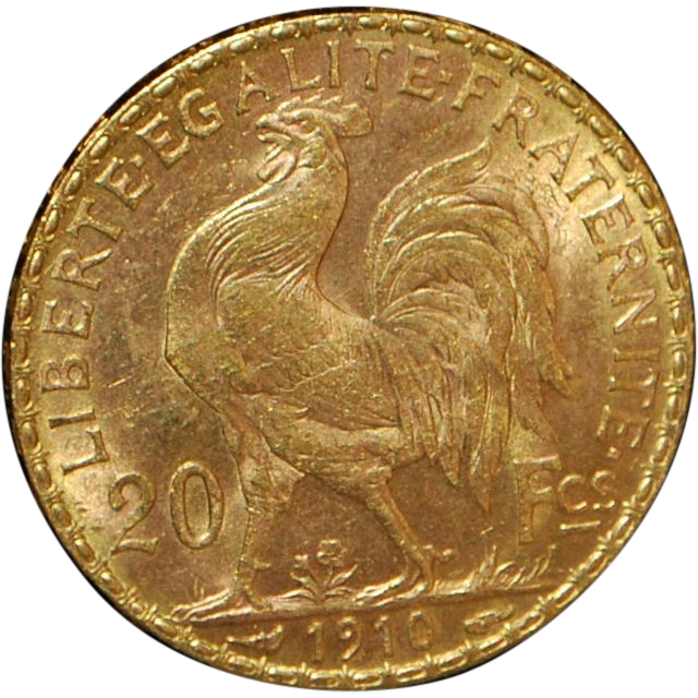 French 20 Franc Gold Coin - 1910 - UNC