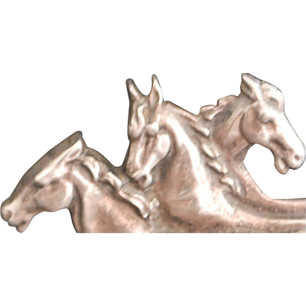 English Large Silver Galloping Horses Brooch, c. 1900