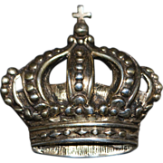 Parenti Sterling Silver Crown Brooch - 1940's