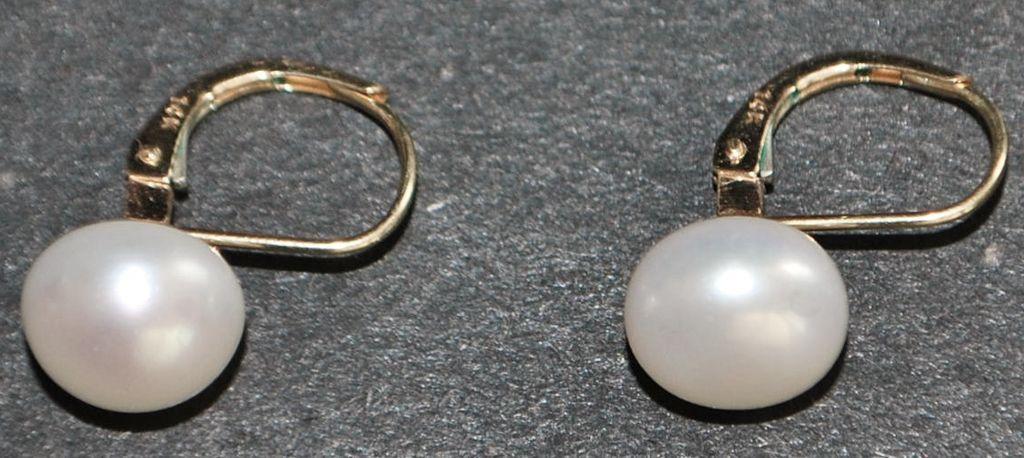 pair of 14k 9 9 2 mm fresh water pearl earrings from