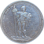 Swiss Basel 5 Franc Silver Coin - 1879 - AU