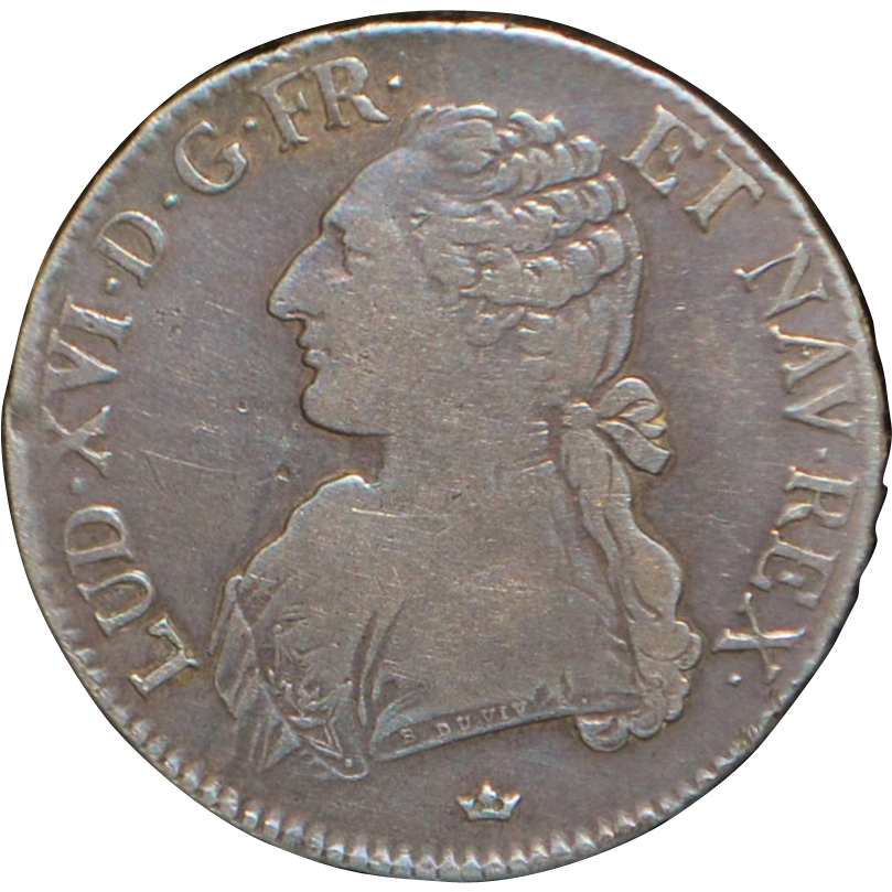 Large French Silver Ecu Coin - 1781 - M -Vf-25