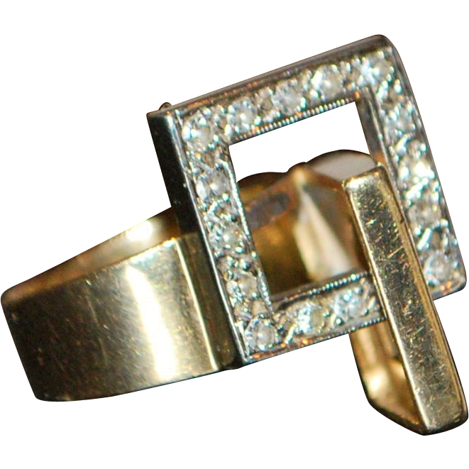 14K Mid-Century Modern Diamond Sculptural Ring